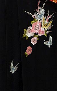 黒刺繍(蝶