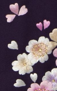 紫小桜刺しゅう