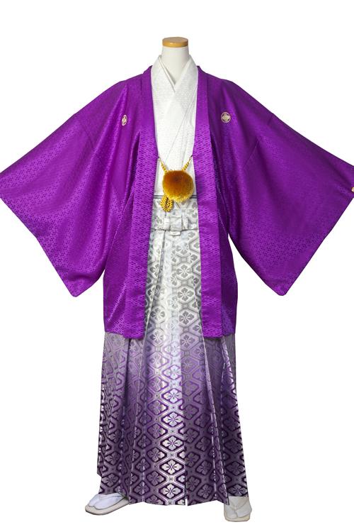 紫×白紋服セット